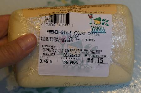 yogurt cheese label