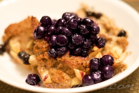 baked french toast: apples & raisins with warm blueberry topping