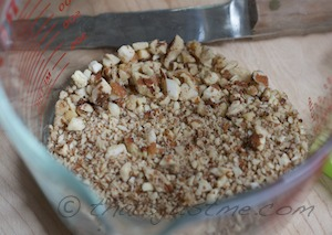 chopped pecans, walnuts, & almonds in the food processor
