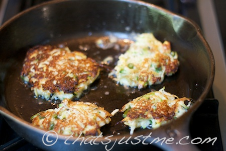 zucchini pancakes cooked in cast iron