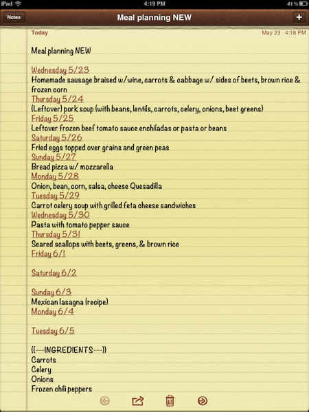 meal planning note on iPad