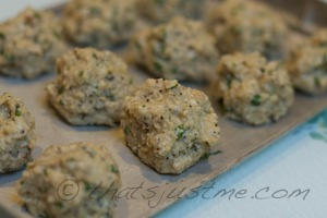 add meatless meatballs to baking tray
