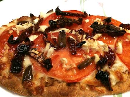 Pizza made with whole wheat tandoori naan bread
