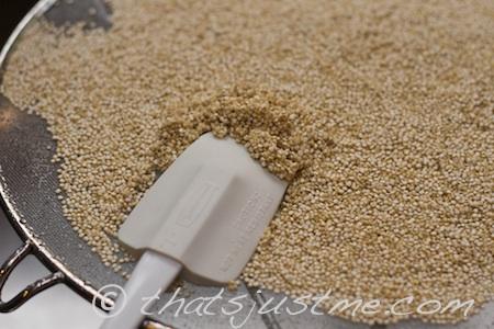 rinsing quinoa using fine-mesh spatter guard