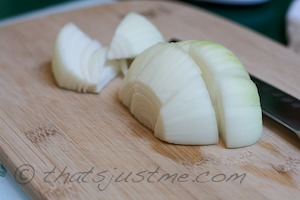 chop onions into large chunks