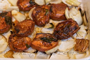 yummy roasted tomatoes and onions