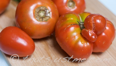 yummy fresh tomatoes from the CSA