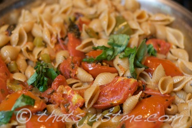 whole wheat pasta shells with roasted tomatoes simmering with spices