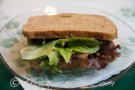 my first lettuce harvest, sandwich