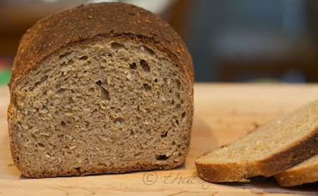 whole wheat barley bread after long cold fermentation in refrigerator