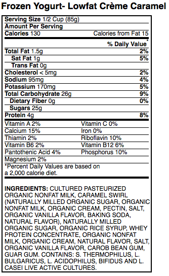 stonyfield farms frozen yogurt nutritional data