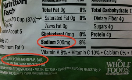 whole foods organic peas have salt sodium added