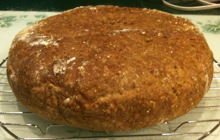 2nd try at whole grain no-knead bread.