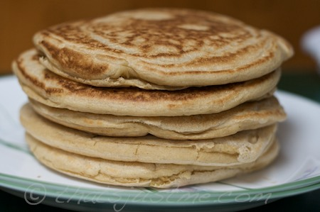 whole wheat, barley, coconut milk & olive oil pancakes