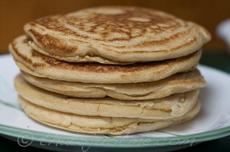whole wheat, barley, coconut milk & olive oil pancakes