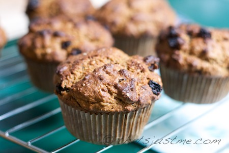 homemade whole wheat oat bran raisin muffins