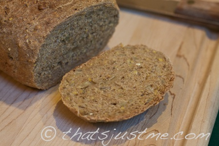 slice of 100% whole wheat rosemary sunflower bread