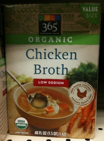 whole foods market 365 brand low sodium chicken stock ingredients