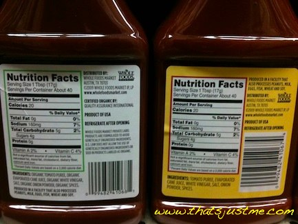 whole foods ketchup organic vs regular