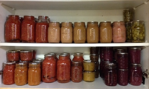 Canning jars on shelf 2014