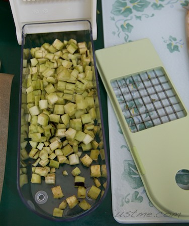 chop eggplant into smaller pieces