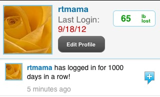 1000 days of logging in at myfitnesspal