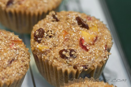 bob's red mill cereal muffins with peaches, strawberries and raisins